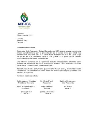 appreciation letter from IICA charity event